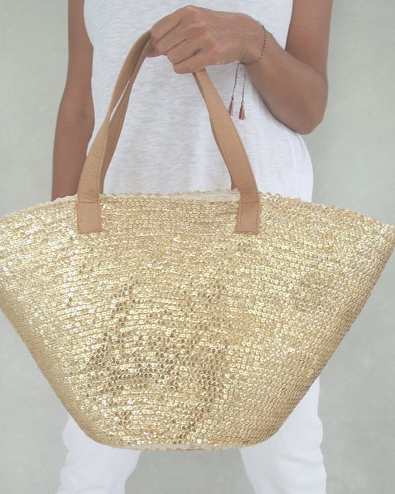 Straw Beach Bag, Straw Bag,Sequin Bag, Leather Bag,Summer Bag ...