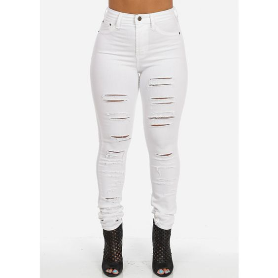 High Waisted Ripped Skinny Jeans (White) ($50) ❤ liked on ...