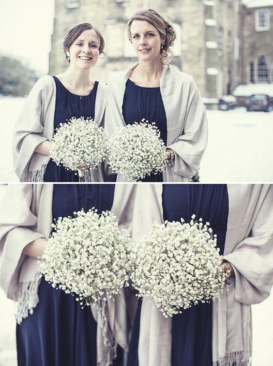 Ripley Castle Wedding | A Darling Navy  Gypsophila Snowy Winter Wedding | Whimsical Wonderland Weddings