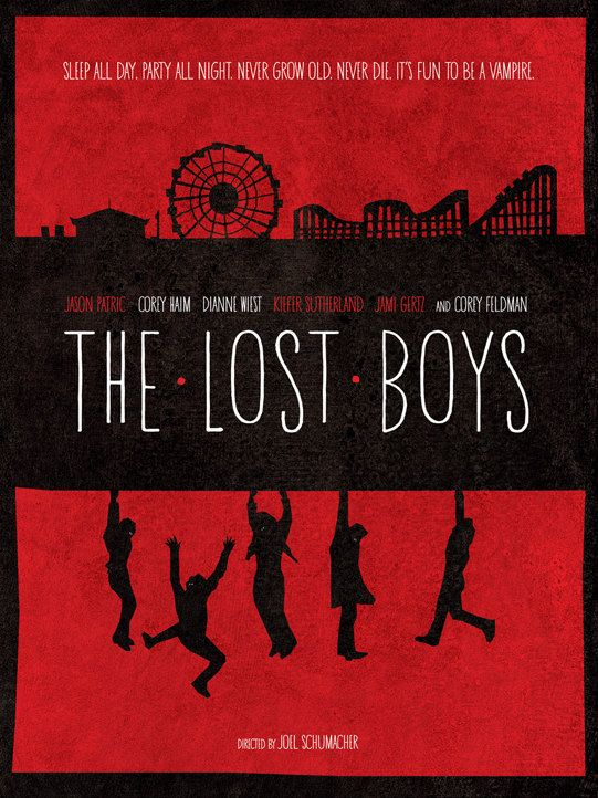 I love the simple, print-made quality of this fan generated 'The Lost Boys' poster. Two iconic images for anyone who knows the film.
