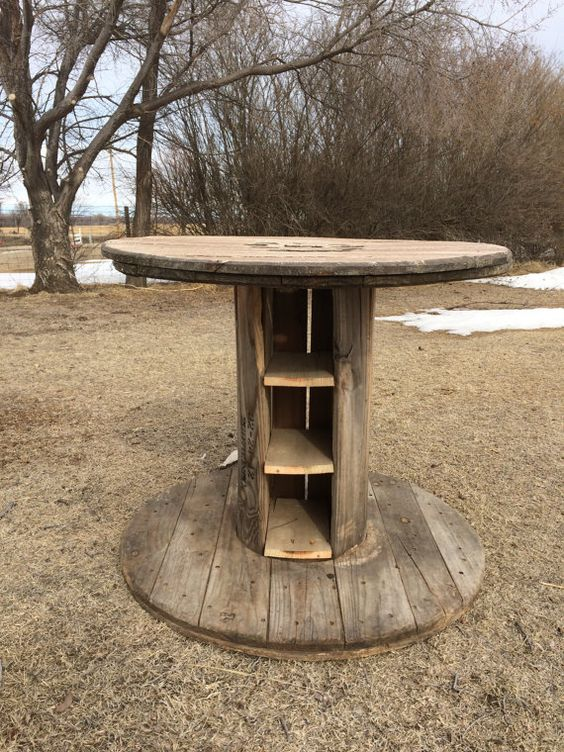 Wood spool table furniture hand painted by for Wooden reel furniture