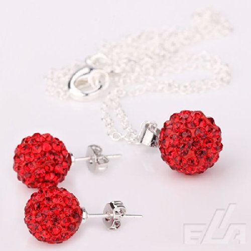 Tiara Shamballa Disco Ball Czech Crystal Rhinestone Earring & Necklace Set Silver 925 - RED