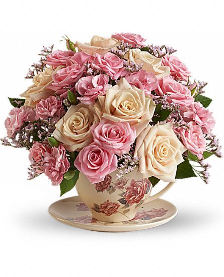 Teleflora's Victorian Teacup Bouquet Flowers::
