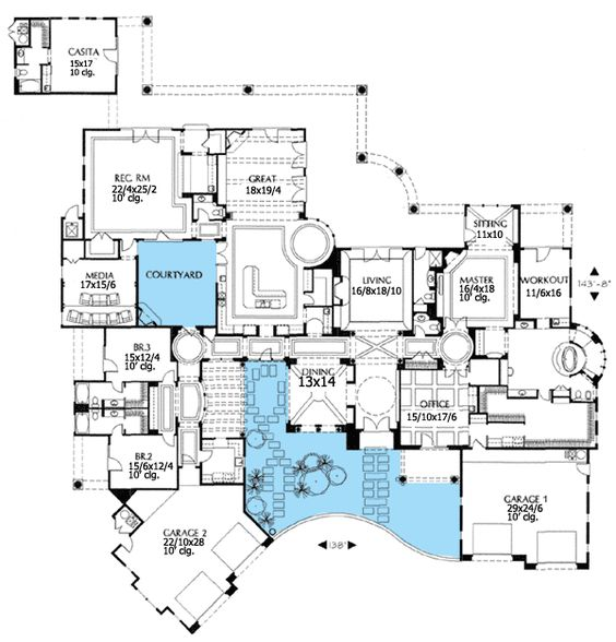 Courtyard Mediterranean House Plans Revival Luxury: Plan 16326MD: Double Courtyard Pleasure