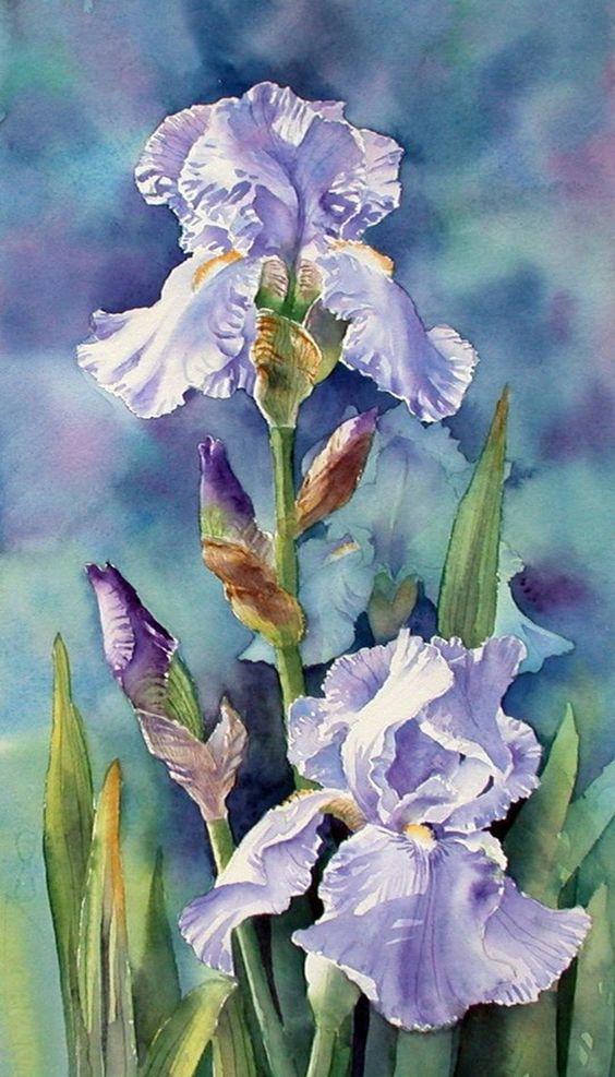 Pintura de iris de color azulado