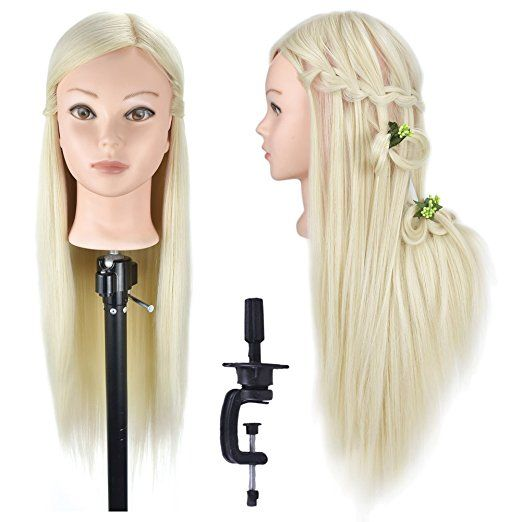 26 Mannequin Head Training Head Cosmetology Hair Styling Head Hairdresser Doll Head Synthetic Hair With Free Clamp Hair Mannequin Head Hair Hair Styles
