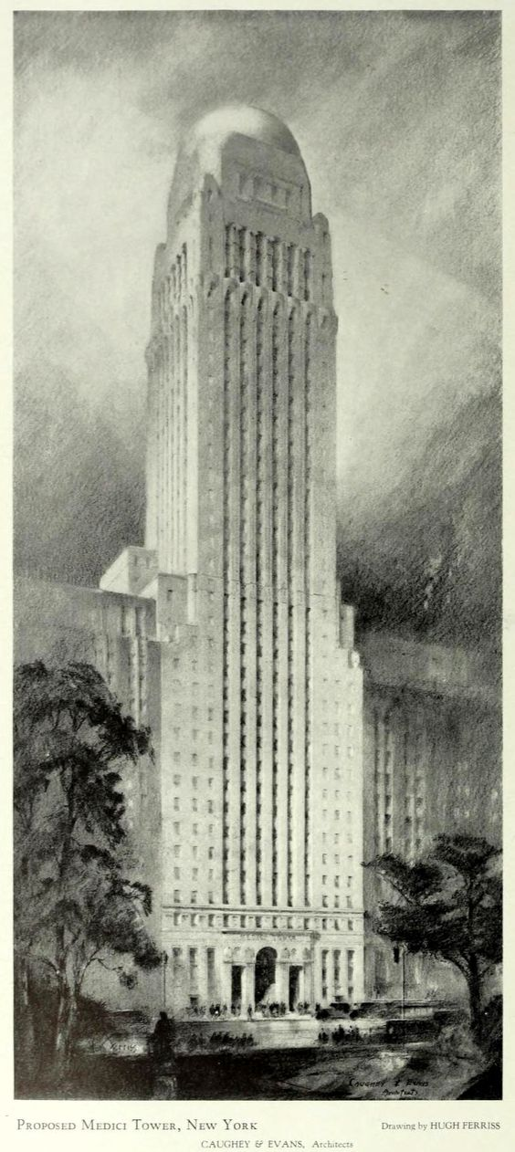 Hugh Ferris drawijg - Caughy & Evans Architects - Design for the proposed Medici Tower, New York City: