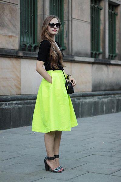 Bright Yellow Midi Skater Skirt | Choies | Por Um Look Sem Tedio ...
