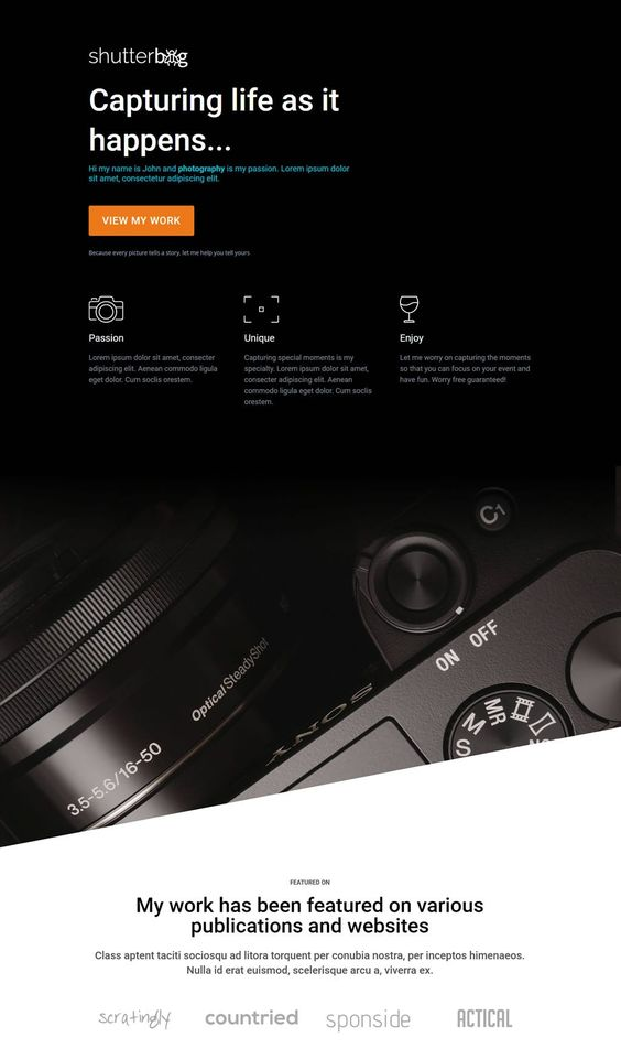 Shutterbug A Single Page Divi Theme Awesome Single Page Blank