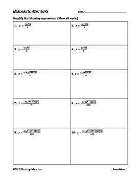 The Quadratic Formula Calculator Practice worksheet is an ...