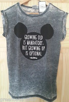 DISNEY Primark Mickey Mouse T-SHIRT Burnout 'Grow Up Optional' Sizes 6 - 20 NEW
