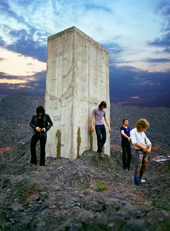 The Who photographed by Ethan Russell atEasington Colliery, 1969. The photograph would become the album cover for Who's Next.