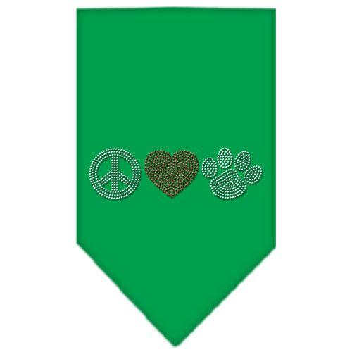 Peace Love Paw Rhinestone Bandana Emerald Green Small