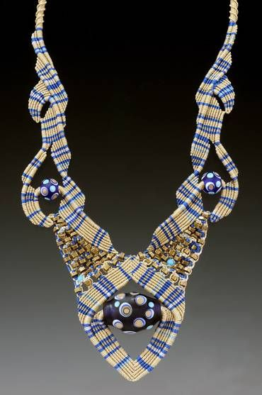 Necklace | Bernadette Mahfood ' Blue Plaid.'  Handmade glass beads and mixed media