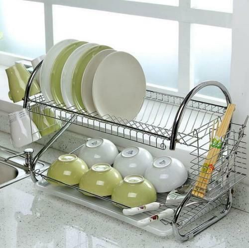 Details About Large Capacity 2 Tier Dish Drainer Drying Rack