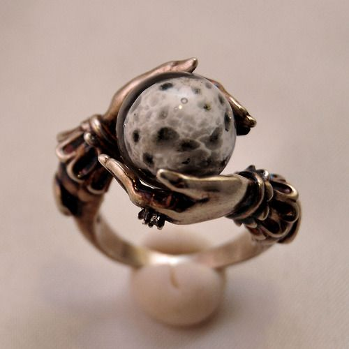 Celestial Lunar Oracle ring with deeply antiqued sterling silver, white topaz accent. www.omniaoddities.com