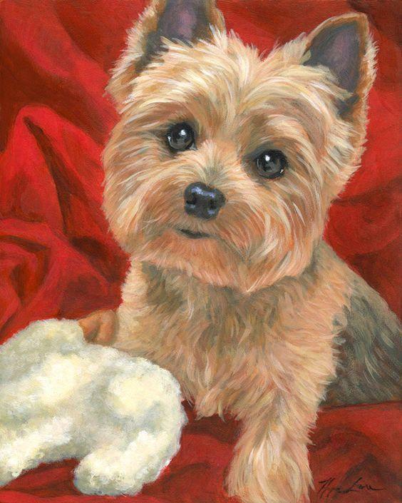 Yorkie Love Custom Pet Portrait Yorkshire Terrier by HopeLaneArt