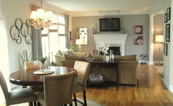 enchanting living room dining combo | Builder Basic made into neutral, comfy, hard working ...