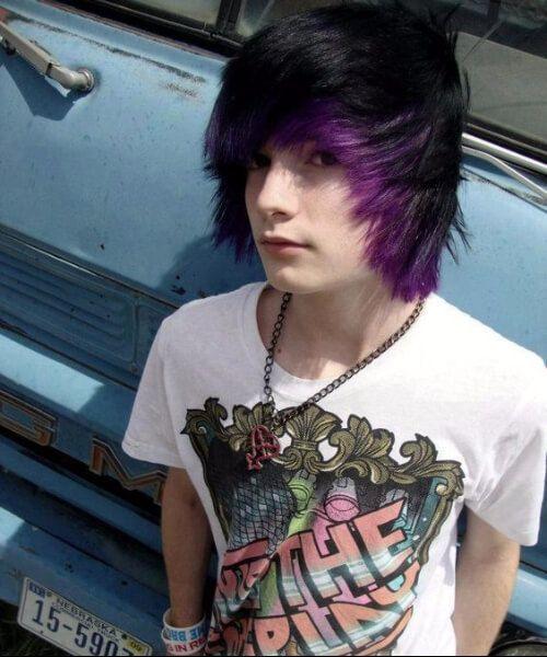 Black And Purple Emo Hairstyles For Guys Black Emo Guys Hairstyles Purple Dyed Hair Men Scene Hair Black Hair Boy