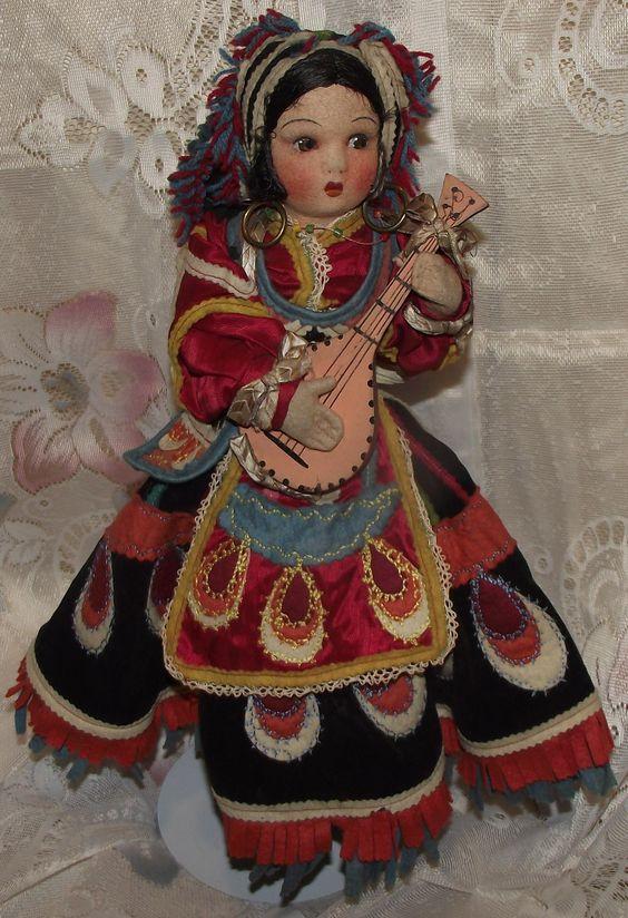 "Stunning Vintage Joao Perotti Cloth Lady Felt Boudoir Doll 18"" Circa 1930's"