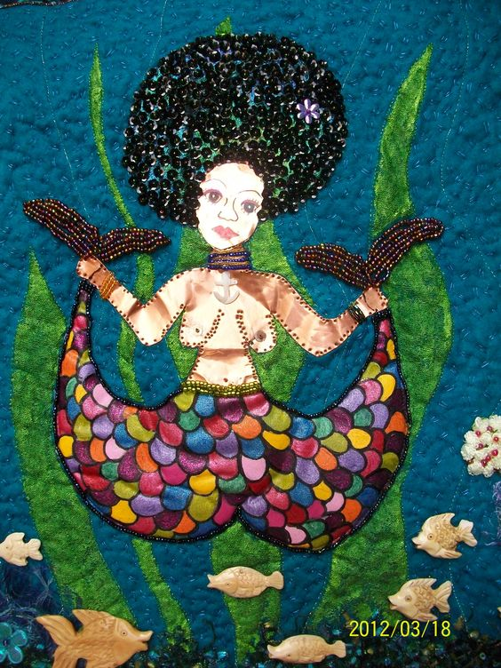 Yemaya/Olokun mixed-media mermaid art quilt by Teresa Vega