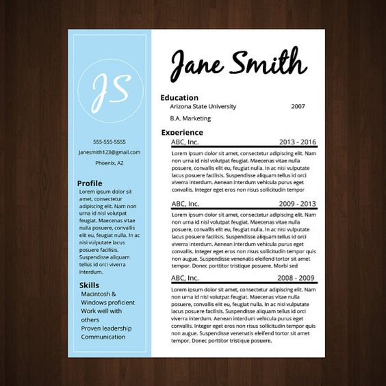 Light Blue Modern Resume A simple yet classic resume design for - classic resume design