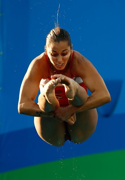 Pamela Ware of Canada competes in the Women's Diving 3m Springboard Final on Day…