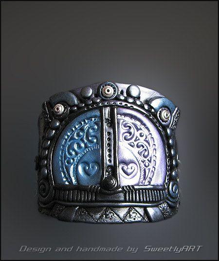 Bracelet cuff wide handcrafted jewelry fantasy by SweetlyART, $55.00