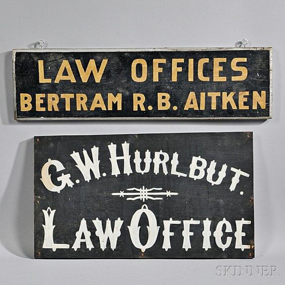 Two Painted Law Office Signs - Current price: $100