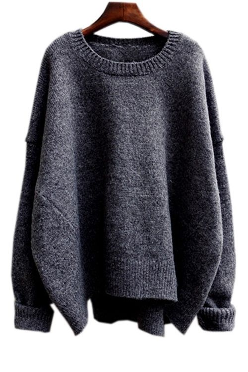 Solid Color High-Low-Hem Batwing Sleeves Sweater