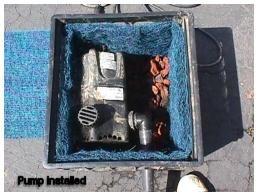 Diy filter for pond pump outdoors hardscapes for Homemade pond pump
