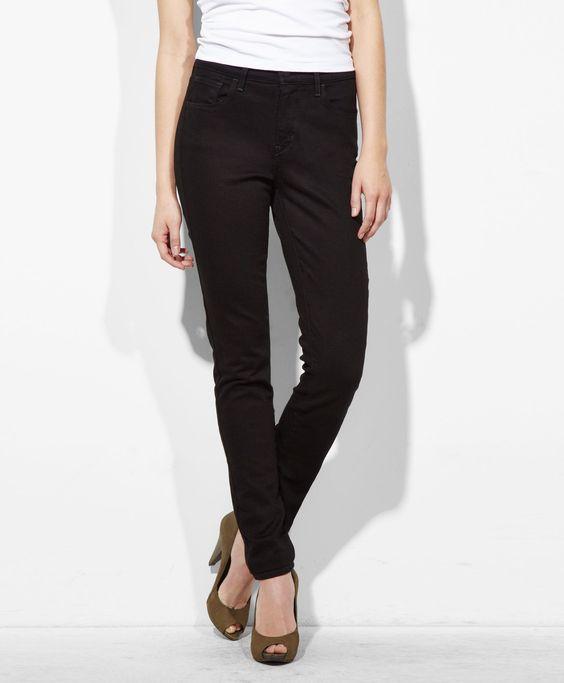 #1 $78.00 Levi's High Rise Skinny Jeans - Pitch Black - Skinny