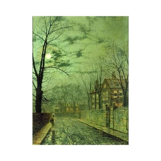 A Moonlit Road Giclee Print Poster by John Atkinson Grimshaw ($26) ❤ liked on Polyvore featuring home, home decor, wall art, john atkinson, photo poster, photo wall art, colorful wall art and friends poster