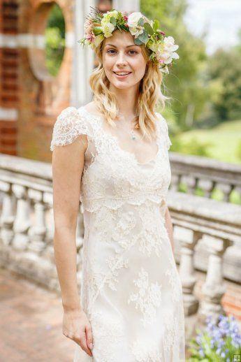 Boho colher pescoço V Império Nack Lace al longo vestido de noiva com mangas
