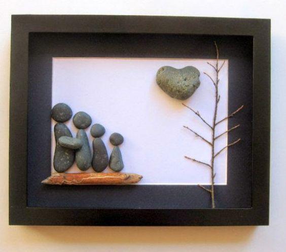 tolles bild mit steinen basteln steine pinterest basteln und fotos. Black Bedroom Furniture Sets. Home Design Ideas