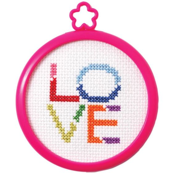 "My 1st Stitch Love Mini Counted Cross Stitch Kit-3"" Round 14 Count"
