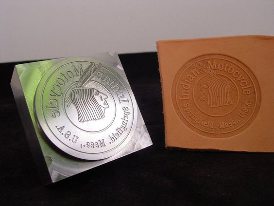 Custom Leather Plate Stamp and its impression, using an arbor press.