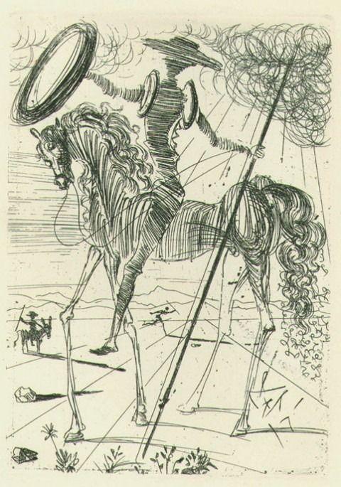Salvador Dalísketches Don Quixote in 1960, as part of his sketches of five Spanish immortals – Quixote, Cervantes, El Cid, El Greco, and Ve...