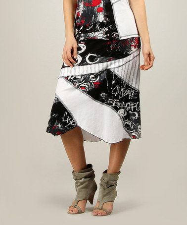 Another great find on #zulily! White & Black Abstract Expressionist Midi Skirt - Women #zulilyfinds