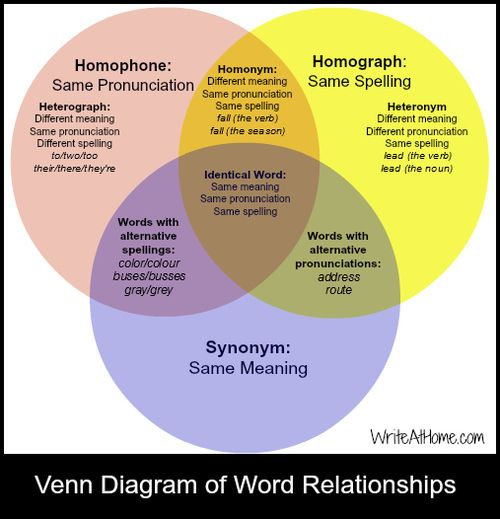 D B A Dcff Ad E on Homograph And Homophone Venn Diagram