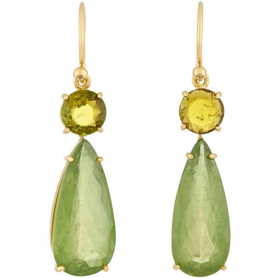 Irene Neuwirth Green Tourmaline Double-Drop Earrings (¥868,800) ❤ liked on Polyvore featuring jewelry, earrings, colorless, round earrings, green tourmaline jewelry, bezel set earrings, clear crystal earrings and clear crystal drop earrings