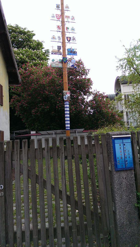 Und auf der anderen Seite der Gunezrainer  straße ein Maibaum mit einer wunderbar blühenden Kastanie. Man sieht hier doch, dass Schwabing mal ein Dorf außerhalb Münchens war ;). Das hat wirklich eine schöne Stimmung, das ganze Eck.
