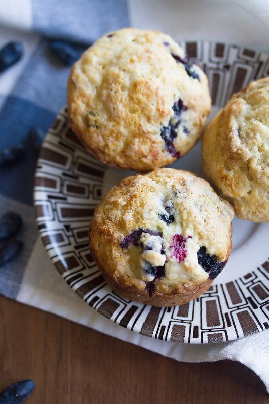 Sour Cream Haskap Muffins On A Plate Sour Cream Muffins Berries Recipes Food