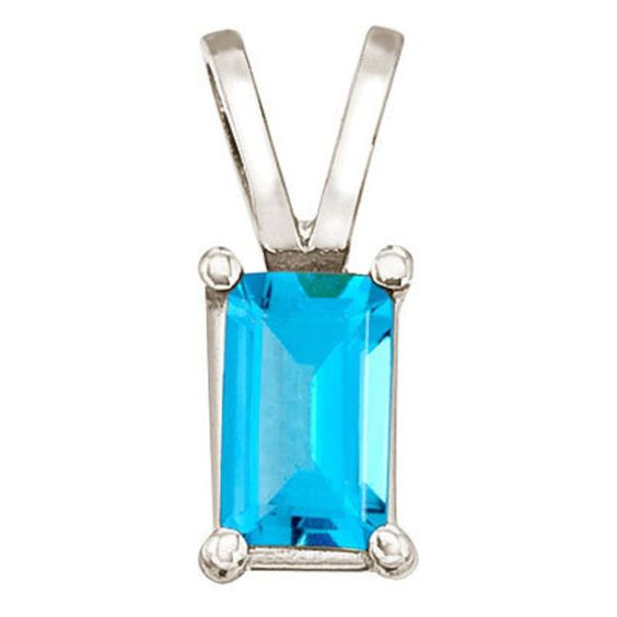 Dream by Thimke Jewellers :: 14K White Gold Emerald Cut Blue Topaz Pendant | 14K White Gold Emerald Cut Blue Topaz Pendant