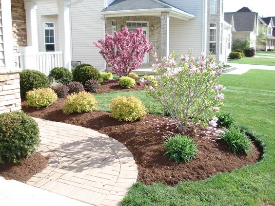 Simple front yard landscaping ideas notice the grouping for Simple front yard landscape design