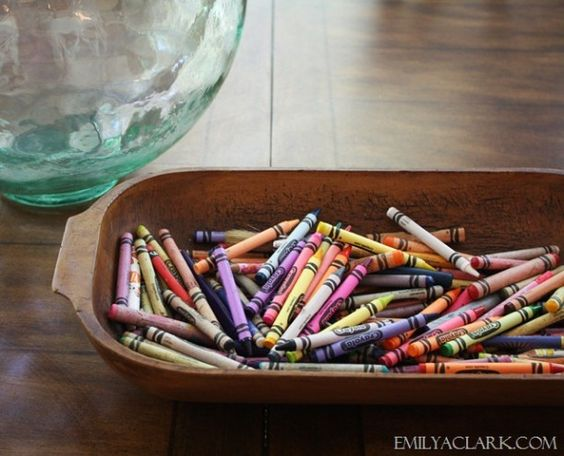 stylish strategies for clearing clutter-Emily A Clark: Crayons Handy, Bowl Crayon, Make Crayons, Kids Bowl, Crayon Storage, Dough Bowl Decor, Kiddos Crayons