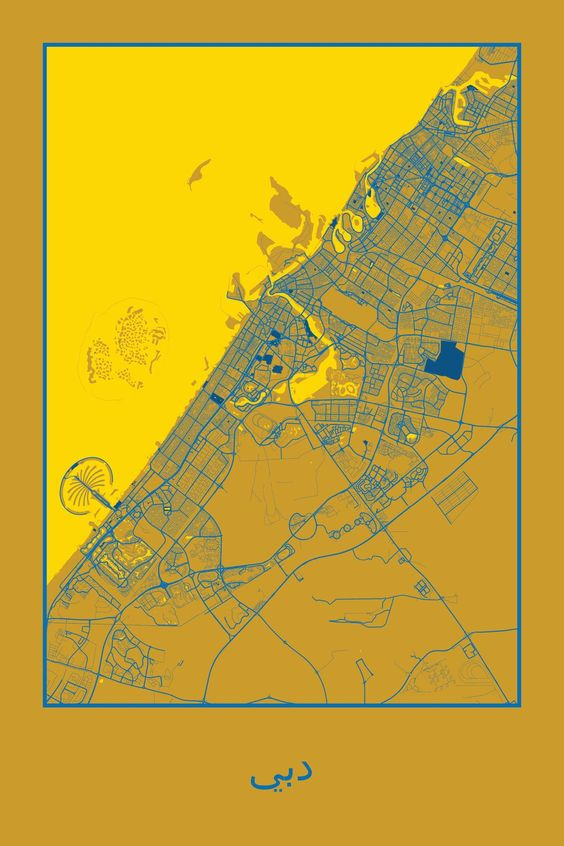Dubai United Arab Emirates Map Print travels – Map of Dubai United Arab Emirates