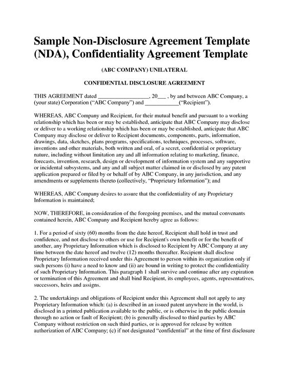 Non disclosure agreement template free sample nda template for Free non disclosure agreement template