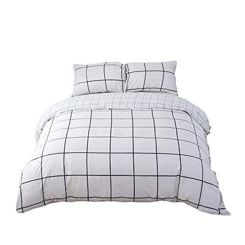 Clothknow White Grid Plaid Duvet Cover Sets King Geometric Checkered Bedding Sets For Men Women 100 Cotton Duvet Cover Sets Geometric Bedding King Bedding Sets