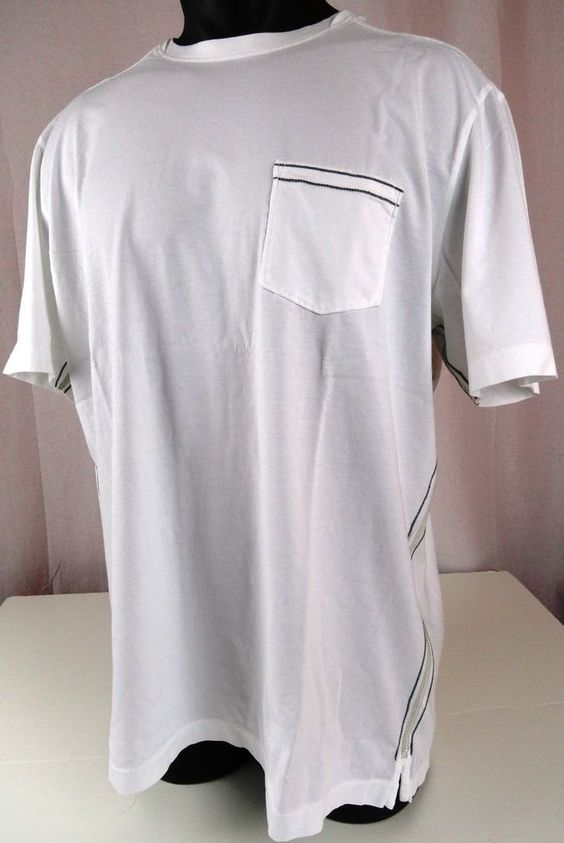 NWT XXL Tommy Bahama Mens Fray Day Crewneck T Shirt White SS Pima Cotton Pocket #TommyBahama #BasicTee